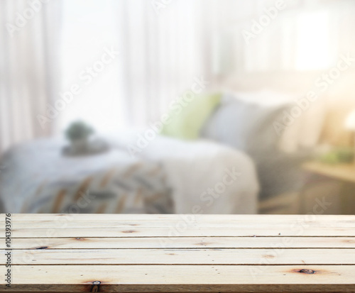 Table Top And Blur Background In Bedroom Wallpaper Mural
