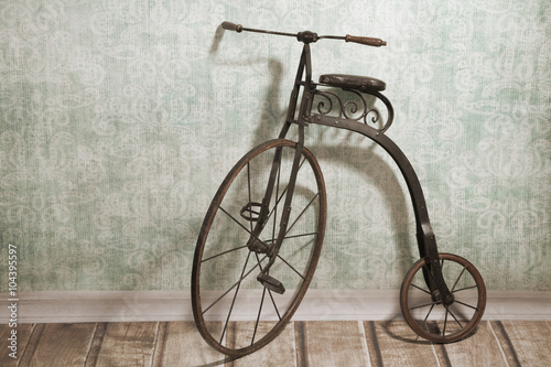 Tuinposter Fiets Historical bicycle by the wall