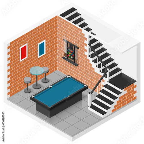 Foto op Plexiglas Trappen Basement isometric icon set