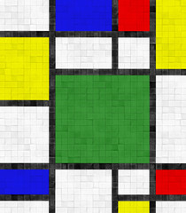 Panel Szklany Podświetlane Mozaika Fliesenwand im Mondrian Stil