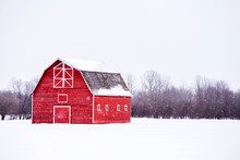 Bright Red Barn With A Hayloft In White Winter Landscape
