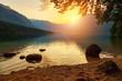 Sunset on the lake Bohinj