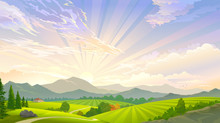 A Sky Full Of Rays And A Scenic Meadow