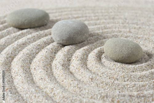 Tuinposter Stenen in het Zand Stepping zen stones on a sand