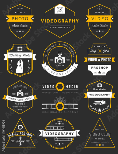 Valokuva  Vector set of badges Photography and Videography