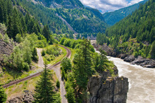Gorgeous View At Fraser River And Pacific Canadian Railway.