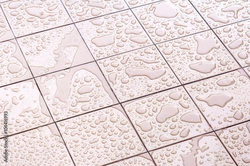 Wet Floor Square Tile Fototapeta