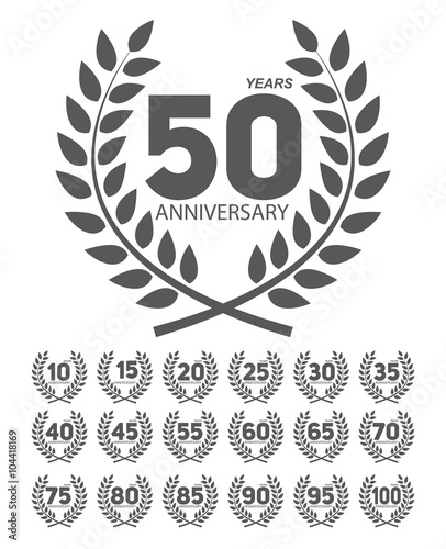 Template Anniversary in Laurel Wreath Set Vector Illustration - Buy ...