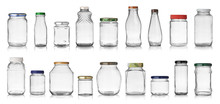 Set Of Empty Jars With Caps Isolated On White Background
