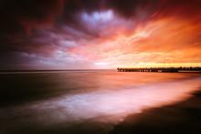 Sunset Near A Pier On The Beach In Ostia (Rome - Italy)