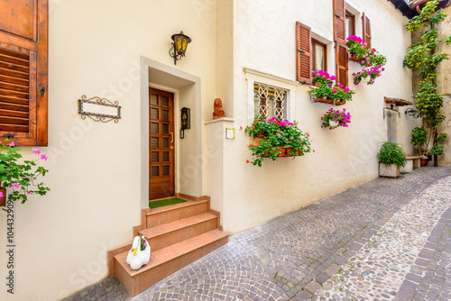 Poster Ruelle etroite Picturesque small town street view in Limone, Lake Garda Italy. Entrance of an apartment or house.