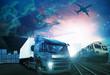 Leinwandbild Motiv world trading with industries truck,trains,ship and air cargo fr