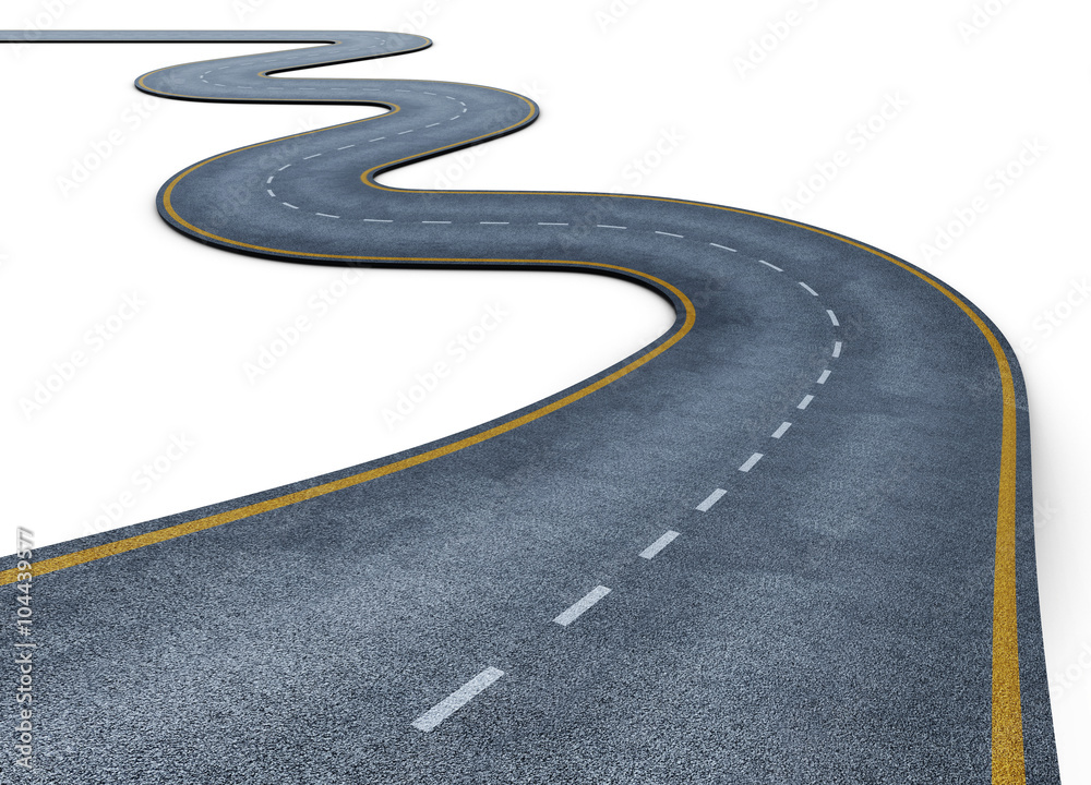 Fototapeta Winding road isolated on white background. Disappearing into the distance. The two-lane road with lane markings. Conceptual image. 3d rendering