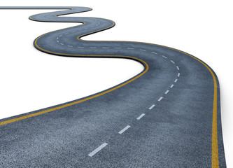Winding road isolated on white background. Disappearing into the distance. The two-lane road with lane markings. Conceptual image. 3d rendering