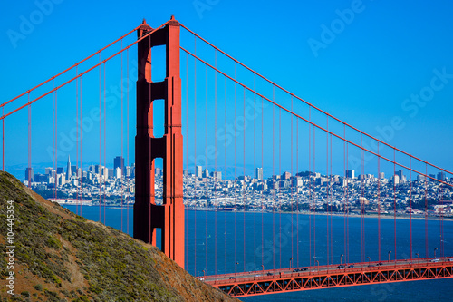 Golden Gate Bridge North Tower, City of San Francisco in Background - California Poster