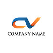 CV innitial logo icon blue orange