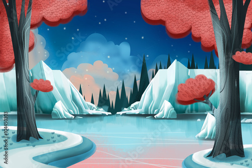 Creative Illustration and Innovative Art: Winter Lake. Realistic Fantastic Cartoon Style Artwork Scene, Wallpaper, Story Background, Card Design
