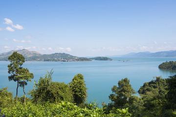 Fototapeta na wymiar beautiful sea views from viewpoint on a hill