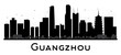 Guangzhou City skyline black and white silhouette.