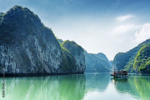 Tourist boat in the Ha Long Bay of the South China Sea, Vietnam Wallpaper Mural
