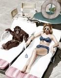 Chimpanzee and a woman sunbathing   - 104458985
