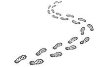 Perspektivische Fußspur / Schuhabdruck Mit Profil / Vektor, Schwarz-weiß, Freigestellt