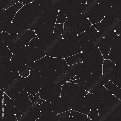 Gwiaździsta noc, bezszwowy wzór, tło z gwiazdami i gwiazdozbiory, wektorowa ilustracja