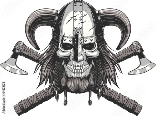 Photo  Viking Skull in helmet
