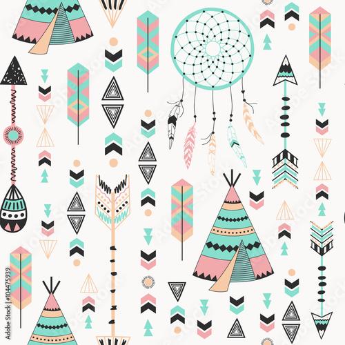 Cuadros en Lienzo Tribal Style Arrows Seamless Pattern