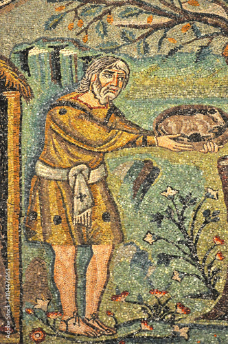 Fotografiet  Ancient byzantine mosaic of Abraham and God