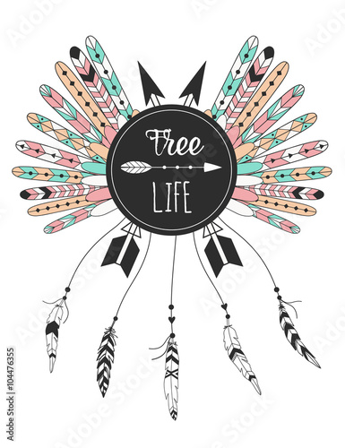 recznie-rysowane-zestaw-plemiennych-pior-native-american-plakat