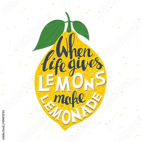Hand drawn typography poster. Lemon  with inscription