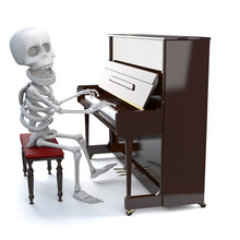 3d Skeleton Playing A Piano