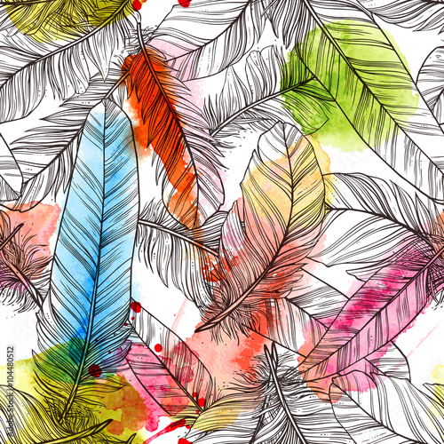 Cotton fabric Seamless pattern with hand drawn feathers with watercolor splatters