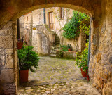 Fototapeta Uliczki - Narrow street of medieval tuff city Sorano with arch, green plants and cobblestone, travel Italy background