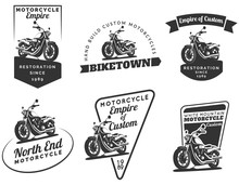 Set Of Classic Motorcycle Embl...