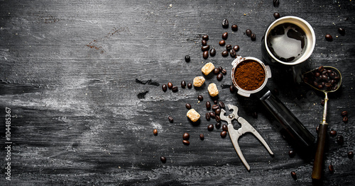Wall Murals Cafe Fresh coffee. Coffee cup with brown sugar and roasted grains .