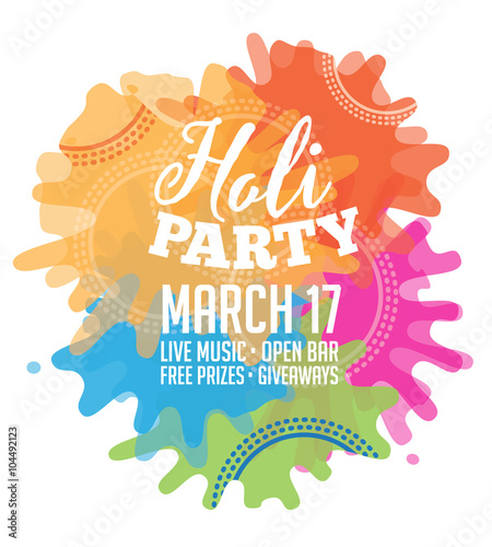 Holi Party Invitation Poster Greeting Card Design Eps 10