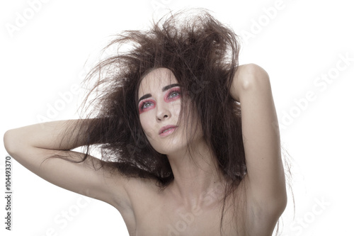 Fotografie, Obraz  The girl with disheveled hair