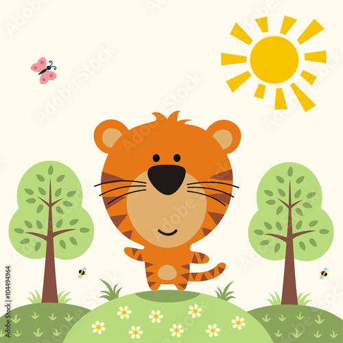plakat funny tiger, asian animal, cute little tiger on nature