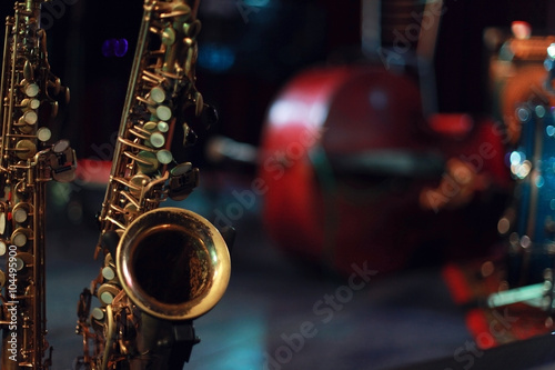 Saxophone on the stage Wallpaper Mural