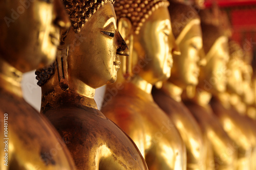 Poster Bangkok Thailand, Bangkok - selective focus point on Buddha statue in Wat Arun temple of dawn - vintage effect style pictures