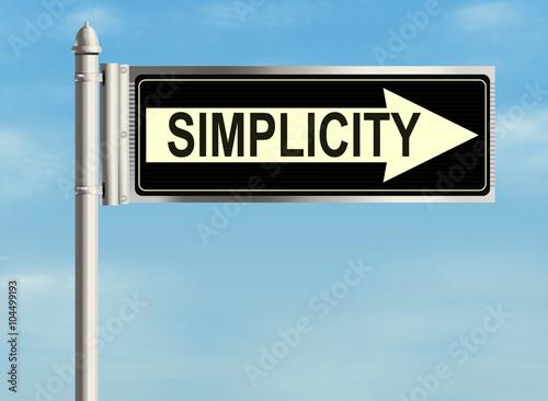 Fotografia  Simplicity. Road sign on the sky background. Raster illustration.