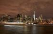 New York City skyline by night, USA