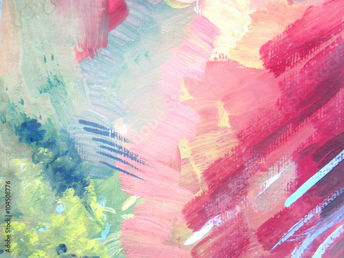 Fotografie, Obraz  Abstract brush painting background. Children's gouache drawing