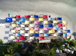 Top View of Colorful Umbrellas in a Beach