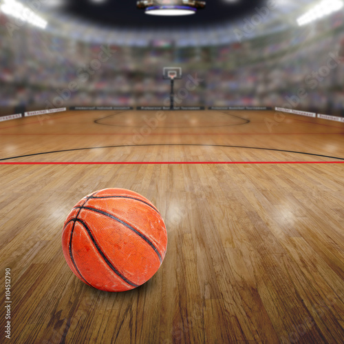 obraz dibond Basketball Arena With Ball on Court and Copy Space. Rendered in Photoshop.