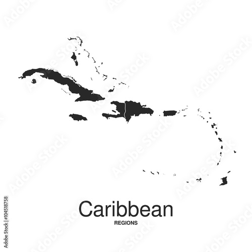 Fotografia, Obraz  The Caribbean Islands regions map
