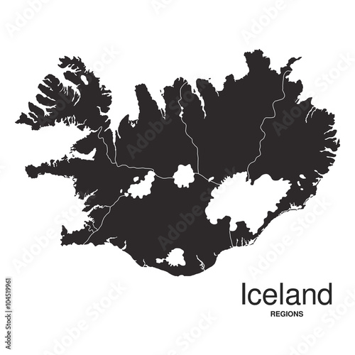 Photo Iceland silhouette regions map