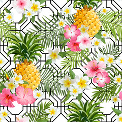FototapetaPinapples and Tropical Flowers Geometry Background - Vintage Seamless Pattern